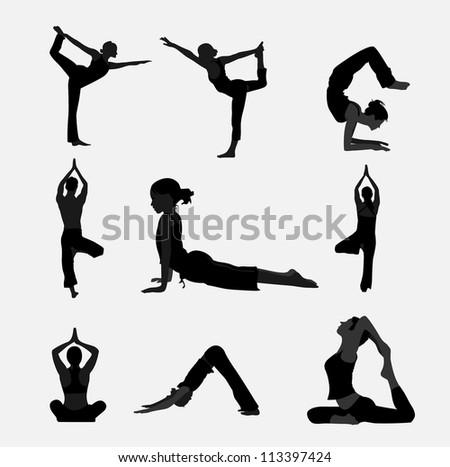 Yoga exercise - stock vector