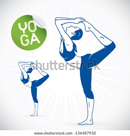 Yoga Fitness Model Illustration, Sign, Symbol, Button, Badge, Icon, Logo for Family, Baby, Children, Teenager, People, SPA - stock vector