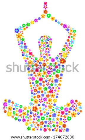 Yoga Girl Made Of Flowers Abstract - stock vector