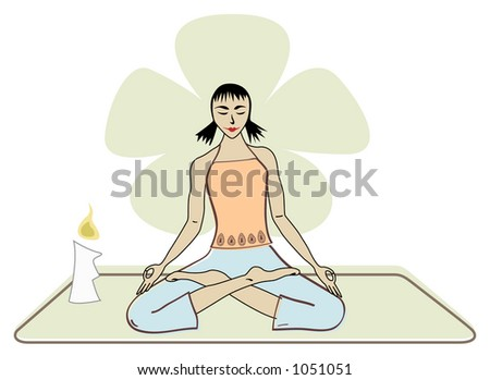 yoga girl meditating - stock vector