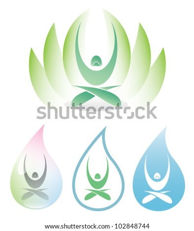 Yoga icon with lotus - vector illustration - stock vector