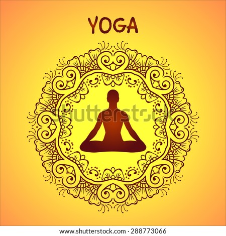 Yoga Icons Asana Round Line Badges Vector Graphic Design Elements Floral Ornament Mehendi In Outline