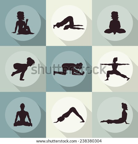 yoga icons (Doodle set) color - position, asana - stock vector
