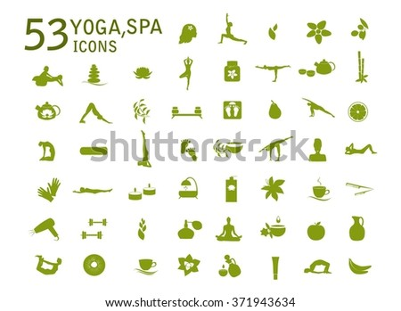 Yoga icons, massage, spa icons. Spa, yoga vector set. Set of  design elements for yoga class, spa salon, massage salon.Health care, sport, fitness, yoga, spa icons, symbols spa. Massage vector icons. - stock vector