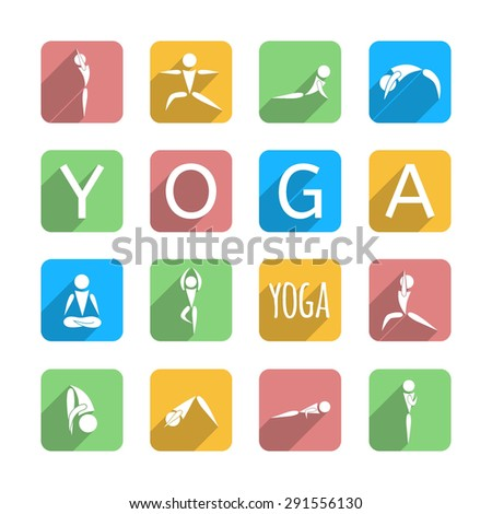 """yoga icons set in colorful squares and text """"yoga"""" on white background, vector illustration - stock vector"""