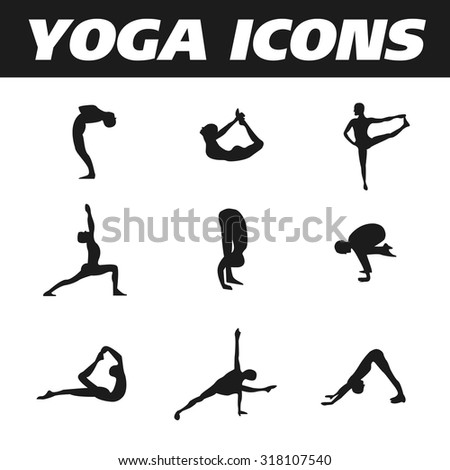 Yoga icons - silhouettes set black and white - stock vector