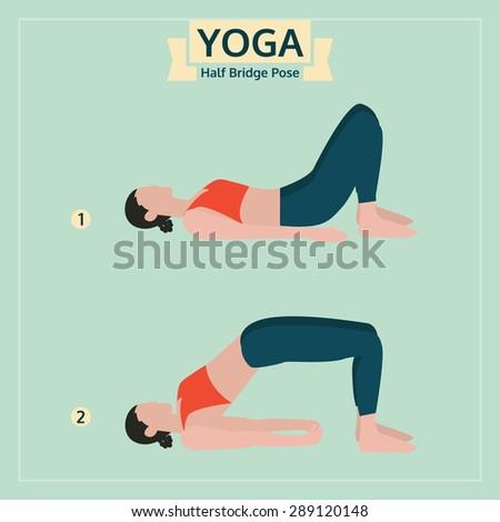 yoga illustration, half bridge pose, yoga exercise vector - stock vector