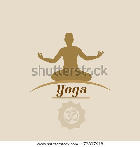 Yoga in vintage style poster with silhouette in yoga pose, vector illustration - stock vector