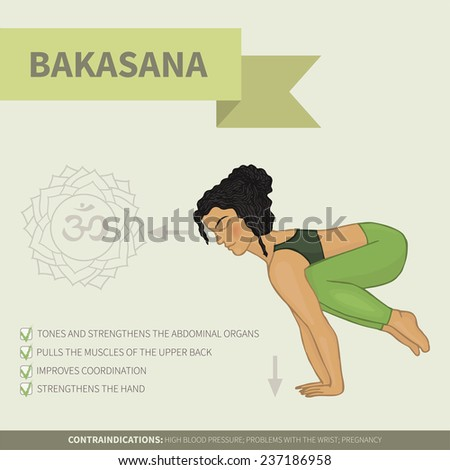 Yoga infographics. Bakasana (Hatha yoga) - stock vector