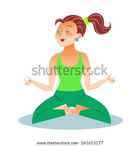 Yoga is a grown woman a girl sitting meditation in the Lotus position