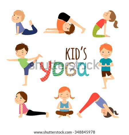 Yoga kids set. Gymnastics for children and healthy lifestyle. Vector illustration.  - stock vector