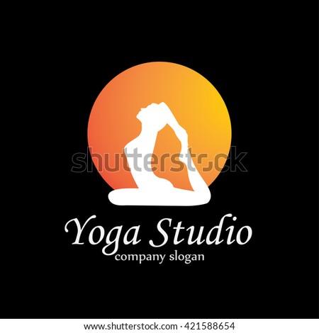 yoga logo - stock vector