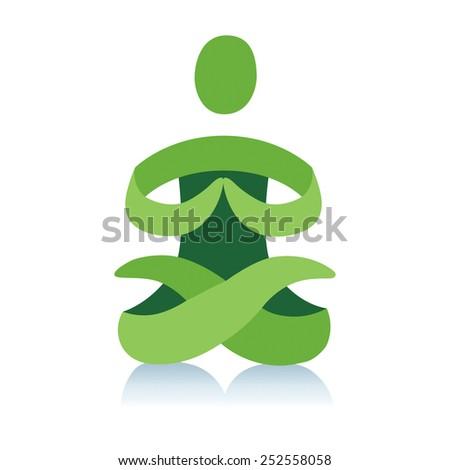 Yoga logo abstract vector icon - stock vector
