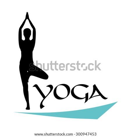 Yoga Logo Asana Tree Pose Stock Vector 300947453