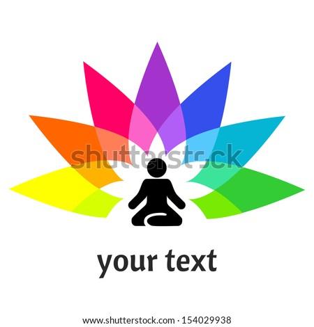 Yoga logotype - man in a lotus position  - stock vector