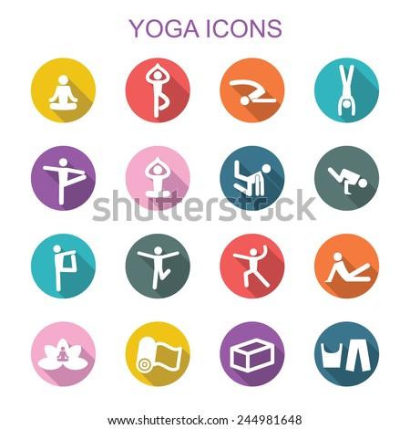 yoga long shadow icons, flat vector symbols - stock vector