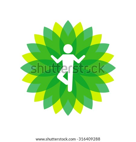 Yoga Lotus Green Icon with People Silhouette. Vector - stock vector