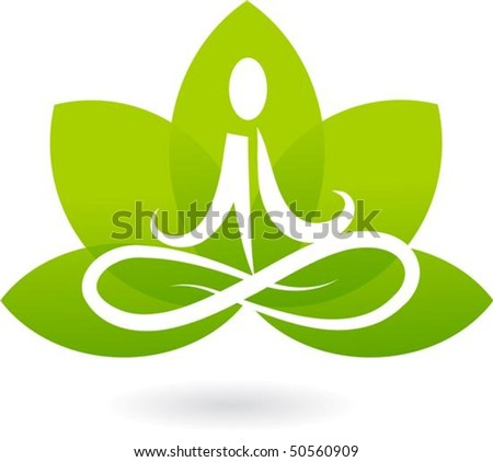 Yoga lotus icon - stock vector