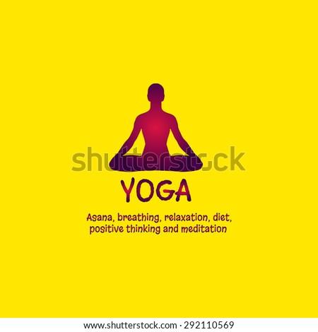Yoga Lotus Position Asana Meditation Mindfulness Zen Vector Linear Girl In A