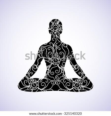 Yoga lotus position, meditation, mindfulness, zen. Vector Linear girl in a circular floral ornament mehendi, vintage style India, Boho, Arabic. For the logo yoga studio, postcards, web templates - stock vector