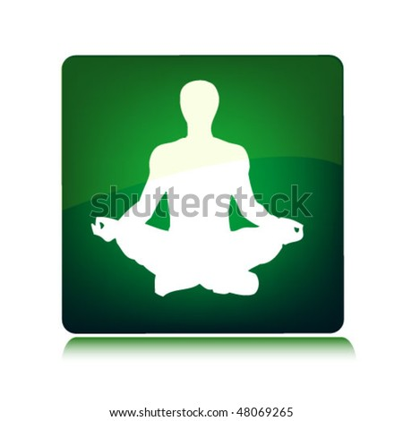 yoga man on the green background - stock vector