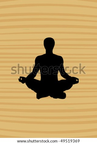 yoga man on the wooden background - stock vector