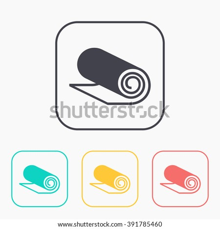 Yoga Mat color icon set, vector illustration