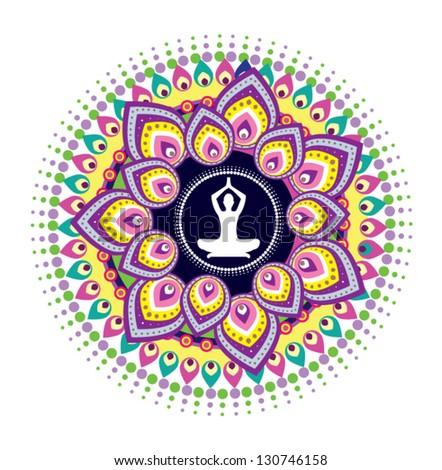 Yoga meditation - stock vector