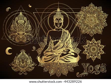 Henna Mehndi Vector : Yoga meditation vector illustration set hindu stock hd