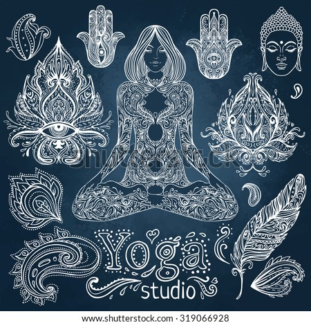 Yoga, meditation vector illustration set. Vintage chalk vector elements over blackboard. Hand drawn. Indian, Hindu paisley motifs. Tattoo, spirituality, prints for t-shirts and other textiles. - stock vector