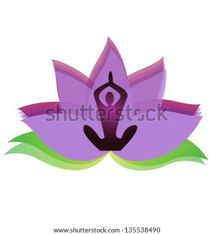 Yoga meditation with lotus flower icon vector - stock vector