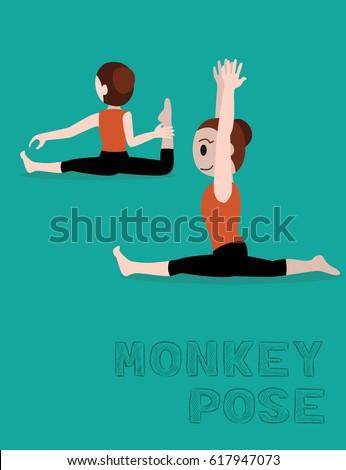 yoga monkey pose cartoon vector illustration stock vector