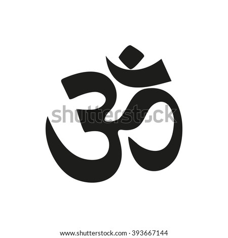 yoga om sign and symbol simple black icon isolated on white background. Elements for company logos, print products, page and web decor. Vector illustration. - stock vector