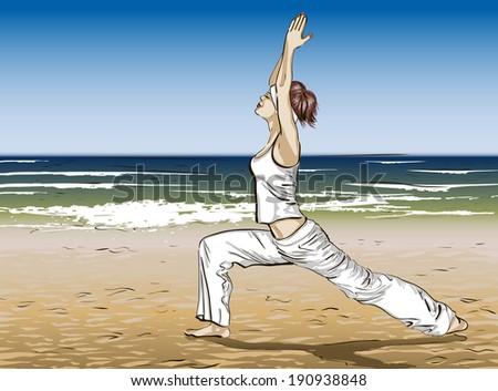 Yoga on a summer beach - stock vector