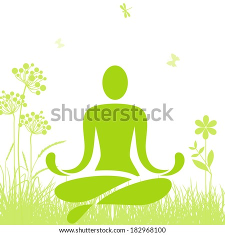 Yoga on the grass - stock vector