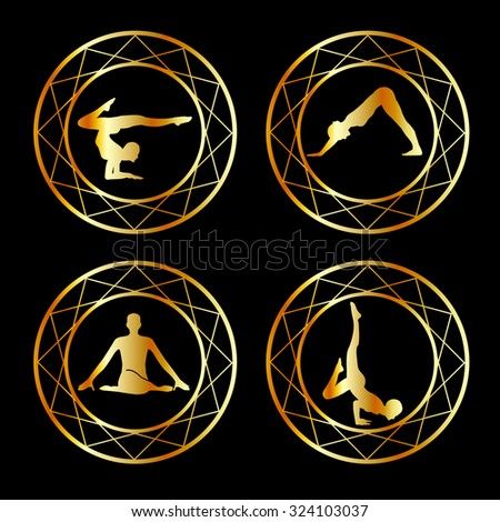 Yoga or gymnast silhouette in geometric design element