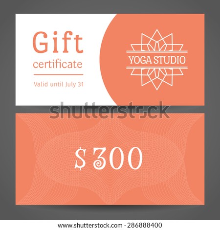 Yoga ornamental gift certificate. Vector editable template include front and back side for relax or spa center, yoga studio, healthcare and traditional medicine - stock vector