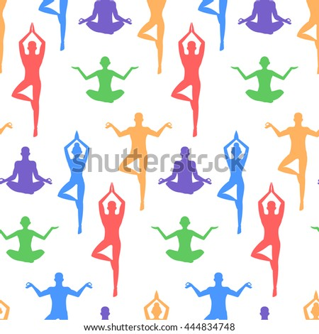 Yoga pattern. Lotus, seal, paisley ornament. White background.