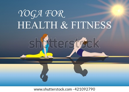 Yoga people training and meditating in warrior pose outside by beach Woman and man yoga exercising training in ocean landscape Silhouette of couple against sun. Chakra pictograms on choku rei symbol   - stock vector