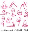 yoga, pilates big set of vector symbols - stock vector