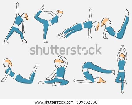 Yoga pose illustration - stock vector