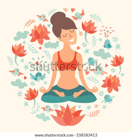 Yoga pose, lotus position. Beautiful girl in the lotus position. Vector illustration isolated on white background. Lotus flowers on the background. Concept of yoga, relax, meditation. The girl in yoga
