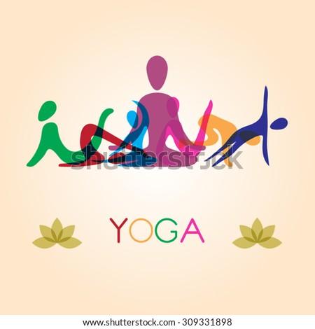 Yoga pose silhouette - stock vector