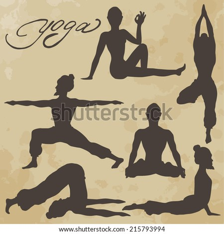 Yoga pose. Silhouette. Asanas. Icons. Handwriting. Aged paper. Texture. - stock vector
