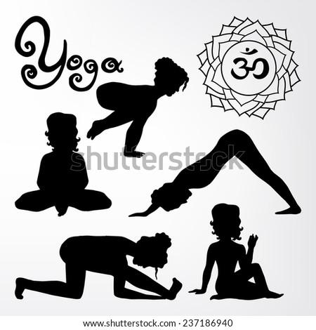 yoga pose silhouette asanas (part 2) - stock vector