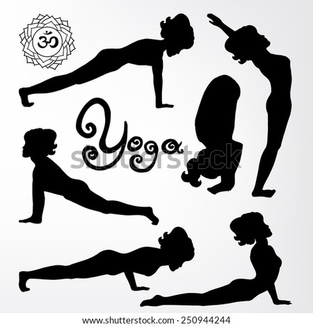 yoga pose silhouette asanas (part 3) - stock vector