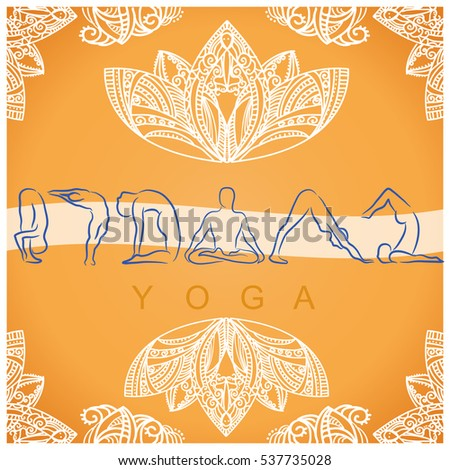 Yoga poses background with  mandala decorations.Vector yellow illustration