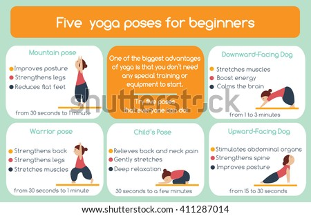 Yoga poses for beginners infographic. Five poses that everyone can do. Yoga infographics - stock vector