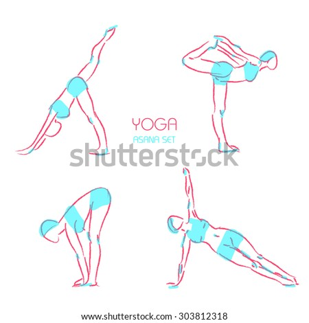 Yoga poses icons set with women figures doing physical workout isolated vector illustration