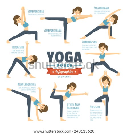 Yoga Poses Infographic Elements - stock vector